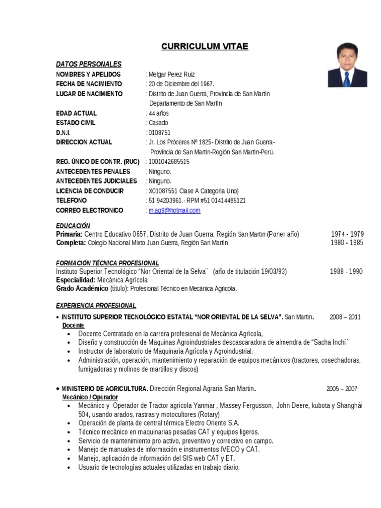 Hermosa Curriculum Vitae Modelo Para Docentes Pdf Elaboración ...