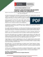 LA POLICÍA PRESENTÓ A RECAPTURADO DELINCUENTE QUE FUGÓ DEL PENAL DE LURIGANCHO