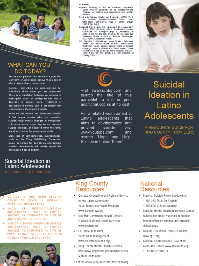 Suicidal Ideation In Latino Adolescents A Resource Guide For King