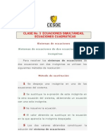 CLASE No. 3  ECUACIONES SIMULTÁNEAS, ECUACIONES CUADRÁTICAS