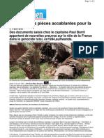 130124.Rwanda. Des pièces accablantes pour la France.Le Parisien