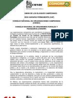 AGENDA COMÚN DE LOS BLOQUES CAMPESINOS CAP, CONOC, CONORP