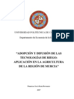 Adopcion y Difusion de Las Tecnologias de Riego,