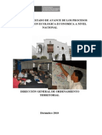Resumen Estado de Avance de Los Procesos de Zonificacion Ecologica Economica a Nivel Nacional