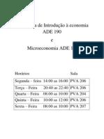 Monitoria de Introdução à economia ADE 190