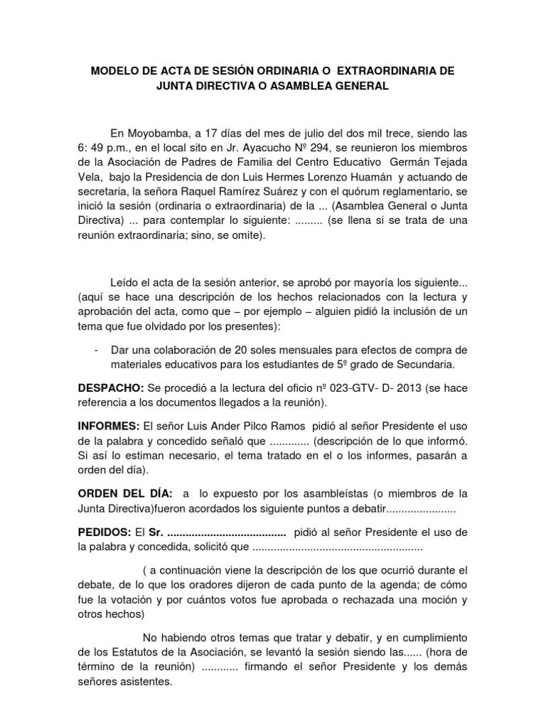 MODELO DE ACTA DE SESIÓN ORDINARIA O EXTRAORDINARIA DE JUNTA ...