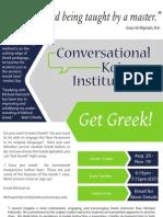 Fall 2013 Flyer - Conversational Koine Institute