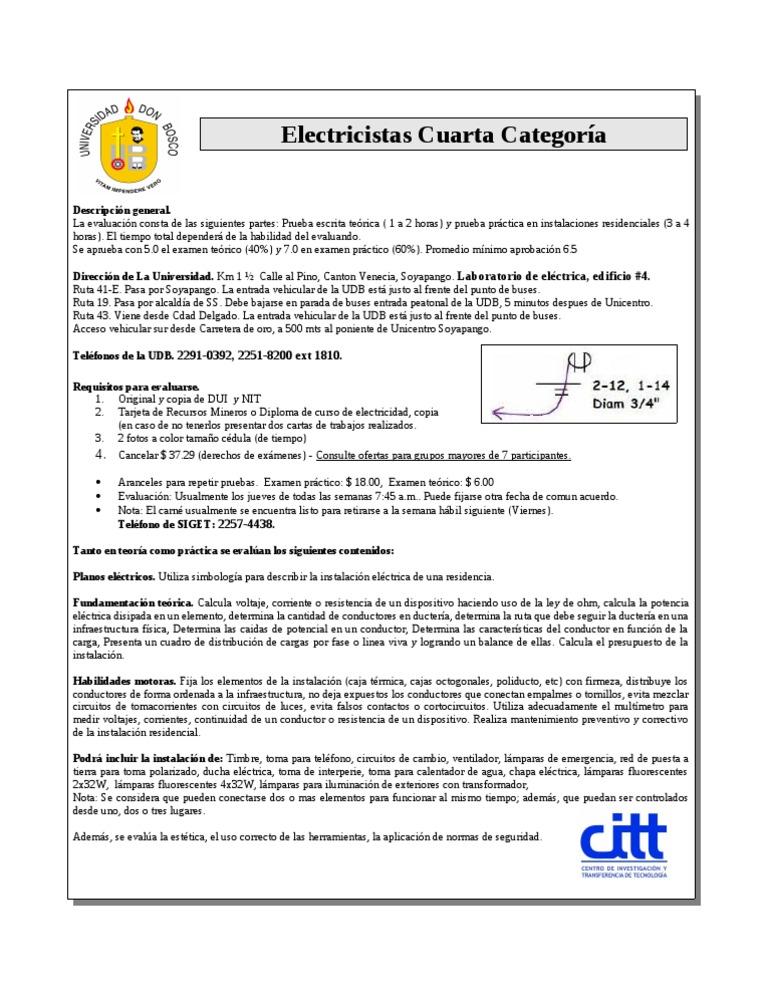 Electricistas Hoja Informativa Cuarta Categoria