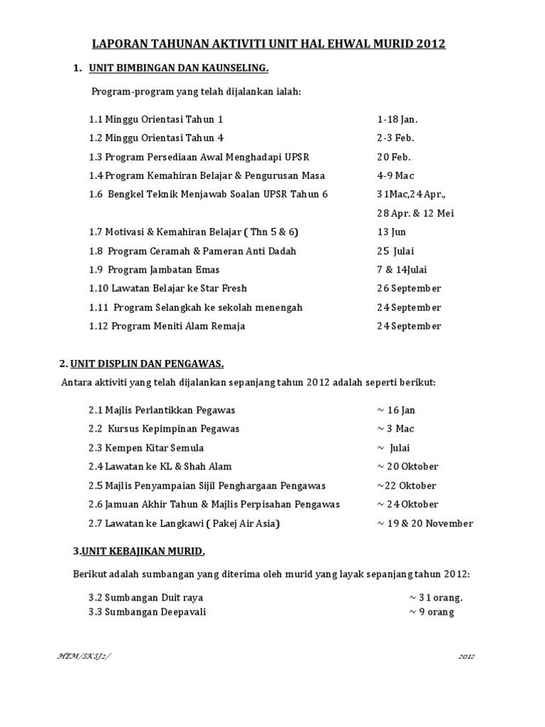 Laporan Tahunan Unit Hem 2012