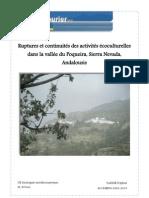 Ruptures et continuités des activités écoculturelles dans la vallée du Poqueira, Sierra Nevada, Andalousie - 2010