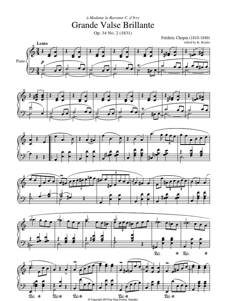 44931718 Grande Valse Brillante Op 34 No 2 In A Minor By F Chopin For Piano