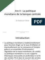Copie de Chapitre II MMF Politique monétaire de la BC (1)