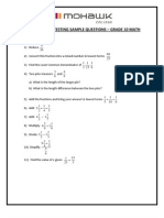 Mohawk College Pre-Admission Sample Questions - Grade 10 Math