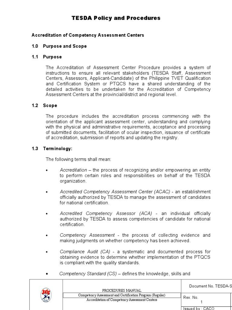 Accreditation Of Assessment Centers Qas 031 Cer 09