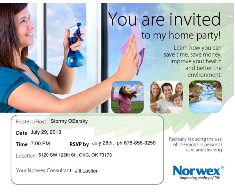 norwex party invite b - Norwex Party Invitation