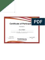 Thinkfinity Certificate