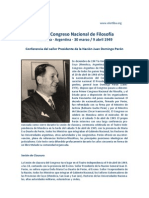 Juan Domingo Peron - Primer Congreso de Filosofia (1949)