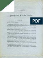 Presbyterian Historical Society circular letter, 1852