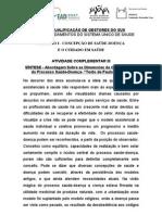 ATV COMP III -CAP I -  Abordagem sobre as dimensões da complexidade do Processo saúde-doença - Segundo Paulo Sabroza