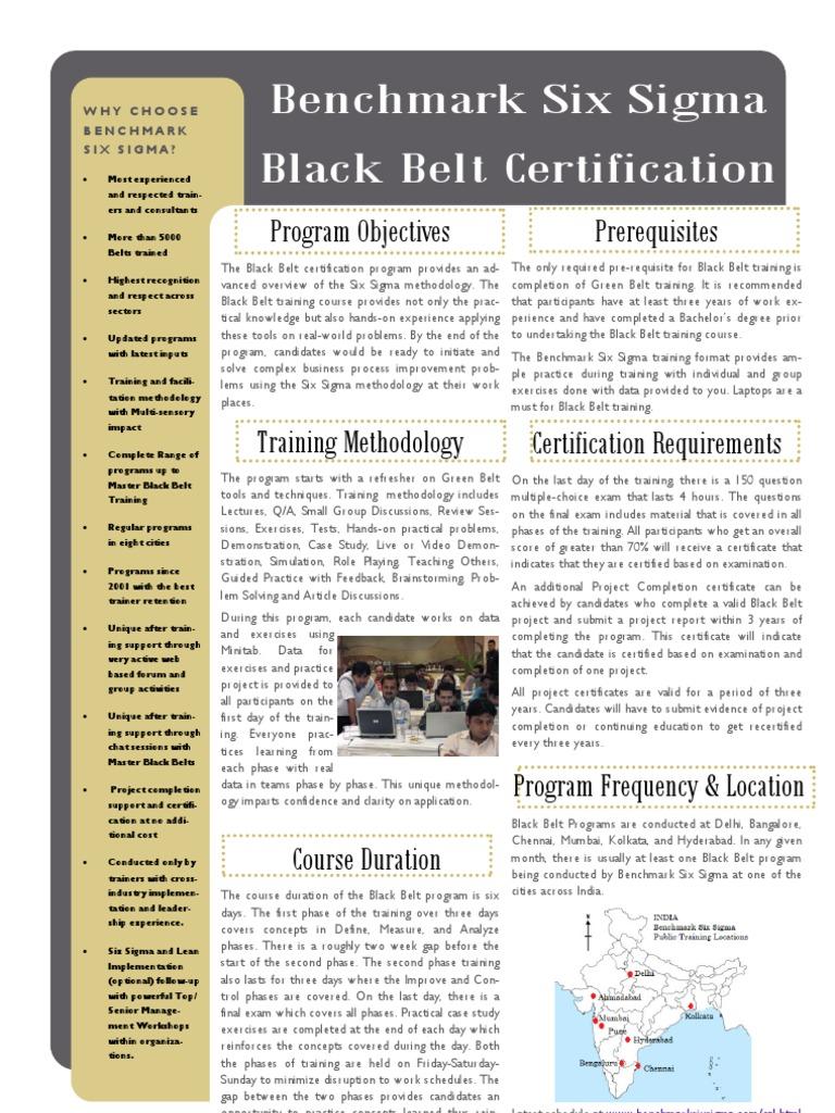 Benchmark Six Sigma Black Belt Training Brochure Six Sigma