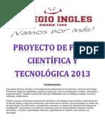 Proyecto de feria científica y tecnológica 2013