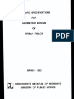 Specification for Geometric Design of Urban Roads