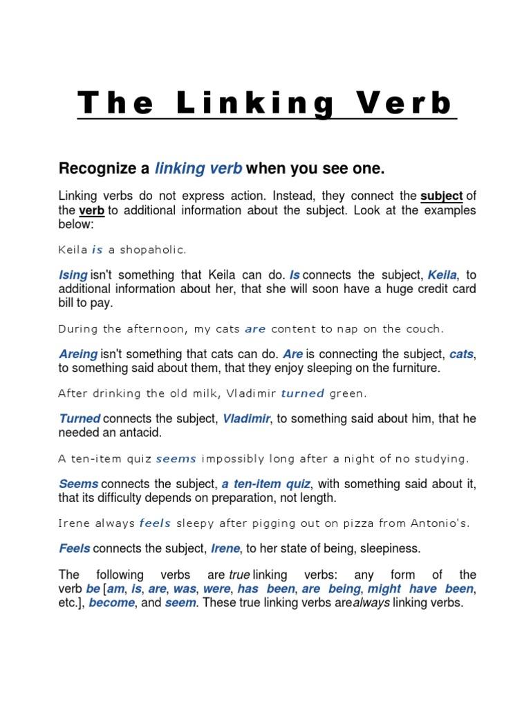 The Linking Verbcx Verb Sentence Linguistics