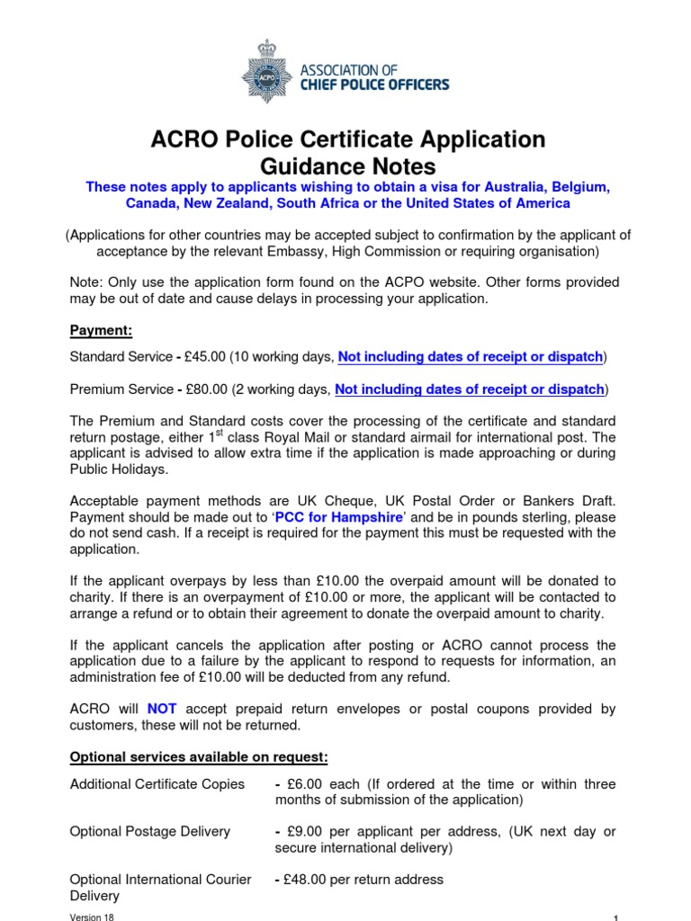 Acro Police Certificate >> Police Certificate Application Form English May 2013