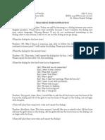 Class Demonstration of Audio-Lingual Method