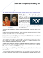 2013-07-16 - Inquirer - Santiago Scorns Lacson Anti-corruption Plan as Silly, Illegal, Laughable