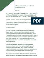 Résolution adoptée par le Conseil Permanent de´OEA - 9 juillet 2013