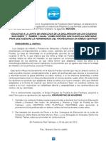 SOLICITUD A LA JUNTA DE ANDALUCIA DE LA DECLARACIÓN DE PLANTILLA DOCENTE INESTABLE EN LOS COLEGIOS DE PUEBLA Y ALMACILES