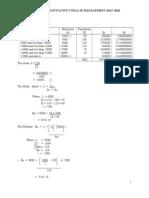 Solution Quantitative Tools in Management May 2010