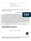 Towards Knowledge Management System Success - An Analysis of Criticla Factors