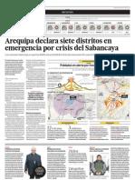 Arequipa Declara Siete Distritos en Emergencian Por Crisis Del Sabancaya
