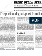 Trasporti inadeguati,persi 24 miliardi di PIL