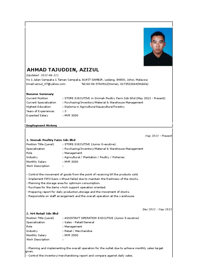 resume expected salary
