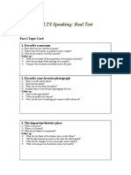 Topic Note Card for Speaking IELTS