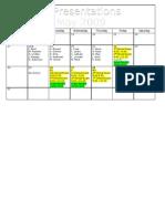 4th Presentation Calendar