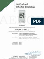Certificado del Sistema de Gestión de Calidad AENOR