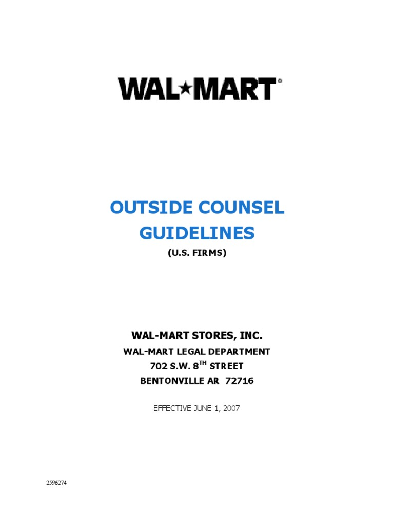 Sample Document Wal Mart Outside Counsel Guidelines | Discovery (Law ...