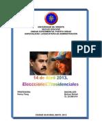14 de Abril 2013. Elecciones Presidenciales