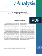 Broadcast Localism and the Lessons of the Fairness Doctrine, Cato Policy Analysis No. 639
