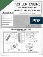 Engine Kohler K91 K141 K161 K181 1968