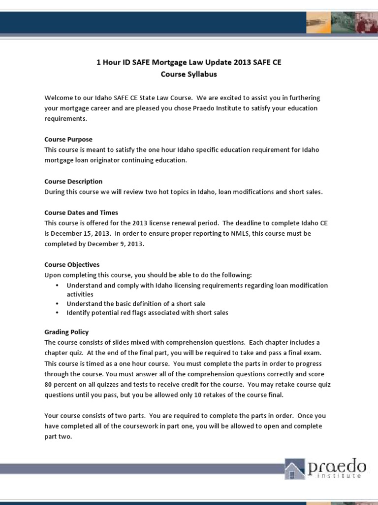 1 hour id mortgage law update syllabus   short sale (real estate