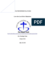 Love the Lord First Ministries Business Plan update for 2013. First draft.