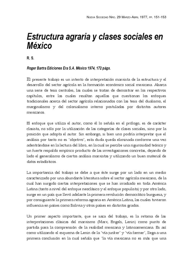 Estructuras Agrarias Y Clases Sociales En México Reseña