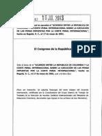 Colombia Acuerdo Colombia CPI Ejecucion Condenas Ley 1662 2013