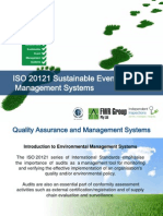 ISO 20121 Sustainable Event Management Systems EMS Presentation Peter Greenham IIGI FWR Group Independent Inspections Certification