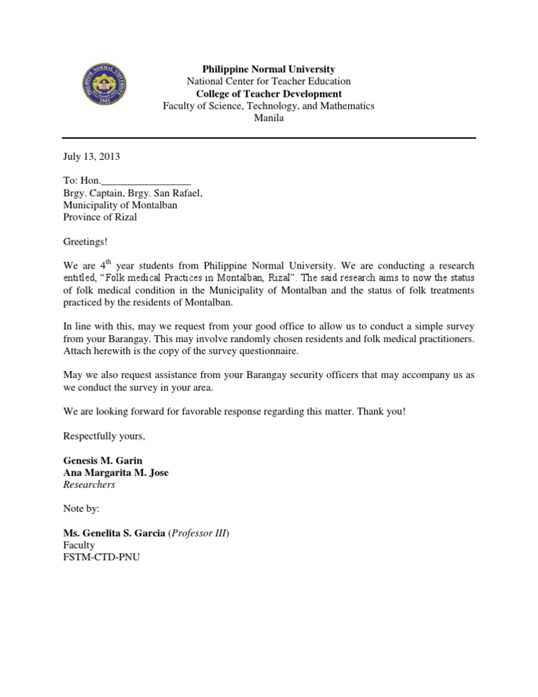 Letter for the brgy captain stopboris Images